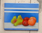 """Original Art Canvas """"Colorful Fruit"""" 11x14"""", OOAK. 100% of the profits go directly to artists with disabilities  Item 38 Zaida S."""