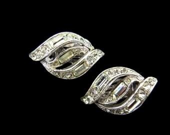 Vintage Bogoff Rhinestone Earrings Clip On Lever Back