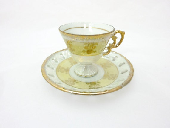 Vintage Porcelain Tea Cup and Saucer Yellow with Gold Accents Iridescent Lusterware