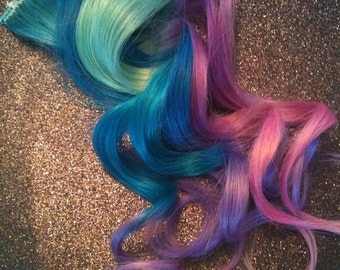 12inch long Pastel Hair / Eight (8) Clip In Ombre Hair Extension / You choose your colors/ Ombre  /Real Remy Hair