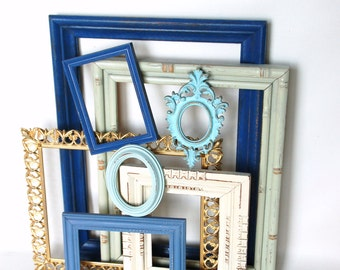 Frame collection upcycled  repurposed open back frames beach decor  French country chic
