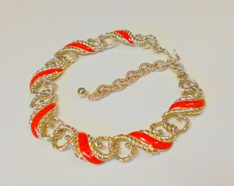 Vintage Trifari Gold Tone Red Enamel Necklace