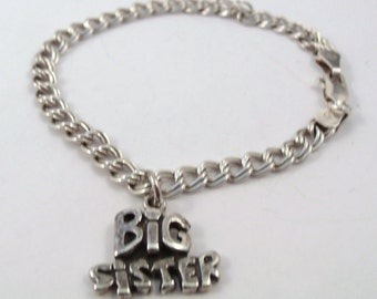 "Children's Sterling Silver Traditional Charm Bracelet with a Sterling Silver ""Big Sister"" Charm - 2656"