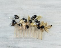 Black Gold  Crystal Hair Comb, Prom Hair Accessories, Gold Leaves Freshwater Pearls, Hair Vine, Bridal Hair Piece