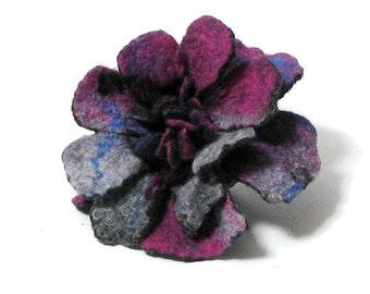 Felt Brooch - Wet Felt Brooch - Felted Flower Brooch - Felted Brooch PURPLE Brooch grey felt nuno nunofelt poppy silk flower