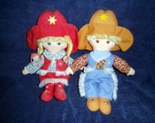 SALE Price reduced Cowboy and Cowgirl stuffed dolls Knickerbocker Cowpokes