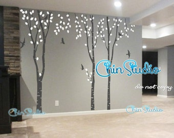 Tree wall decal wall stickers nursery wall decals-Birch trees nature decal with bird decal