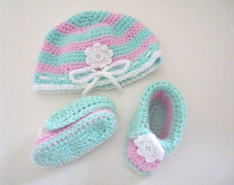 Crochet Pink and green baby girl  hat and booties handmade set with white flower detail