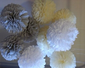 Tissue Paper Pom Poms -Set of 90  // Ceremony//Weddings//Parties//Anniversary//Birtday Decor
