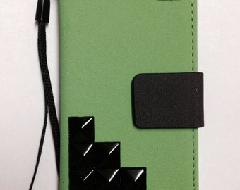 Neon green studded iphone SE, iphone 5, iphone 5s wallet case