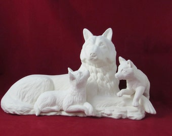 Ceramic Ready to Paint Large Wolf Family-16 inches - hand painted, decor