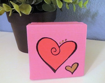 Curly Heart Design CUSTOM COLOR Small Square Keepsake, Jewelry Box or Gift Box