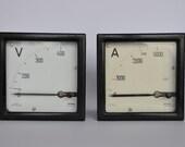 SALE Pair of Large Vintage Amp and Volt Meters.