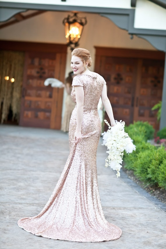 Bacall Champagne Paillettes Old Hollywood Wedding Gown