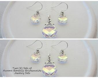 Crystal Bridesmaids Jewelry Sets in Aurora Borealis-Two Sets of Swarovski Aurora Borealis Crystal Bridal Party Jewelry Sets