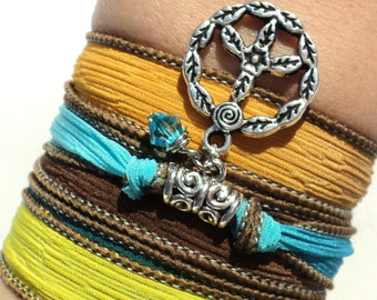 Peace Silk Wrap Bracelet Colorful  Yoga Jewelry Bohemian Hippie Love Earthy Unique Gift For Her Mothers day Under 50 Item A55