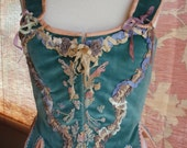 Marie Antoinette French Rococo Velvet Hand Embroidered Silk Ribbon Corset Bodice Romantic Steampunk Bohemian Wedding Ballet Theatre