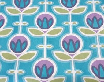 Blue Scandinavian retro style floral cotton fabric - half metre