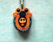 Haloween soutache necklace pendant - skull necklace pendant  orange black  soutache jewelry hand embroidery necklace bead embroidery