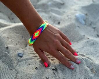 Chunky Chain Friendship Bracelet. Vibrant Neons.