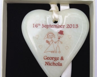 Fused Glass Personnalised Wedding Heart