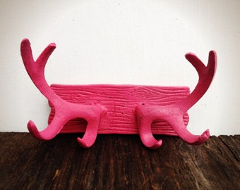 BOLD rustic cast iron deer antler wall hook // coat rack towel hooks // hot pink shabby cabin cottage chic // boho tribal chic // bohemian