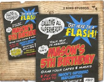 Super hero Invitation - DIY printable super hero invite in chalkboard style - Superhero birthday party invitation