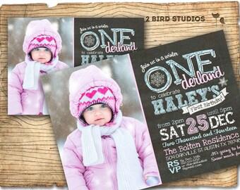 Winter ONEderland invitation - Winter ONEderland birthday party invites - chalkboard winter onederland party DIY printable invitation