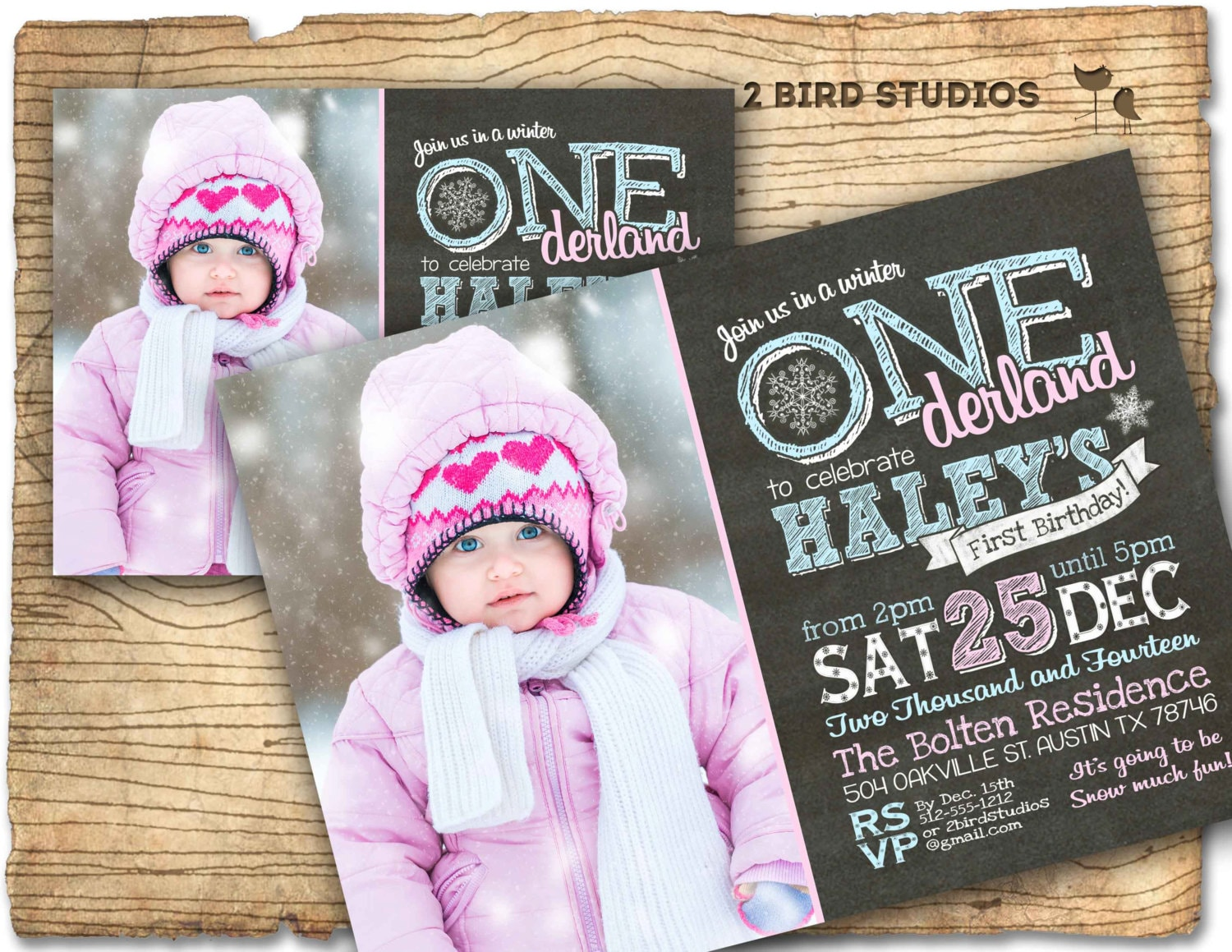zoom - Winter Onederland Party Invitations