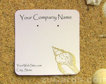 20 Seashell Earring Display Cards - Customizable, Hand Stamped & Embossed Seashell on White Card Stock, Customize Any Embossing Color