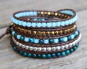 Beaded Leather Wrap Bracelet 5 Wrap with Australian Jasper and Turquoise Glass Beads on Genuine Brown Leather Fall Bracelet