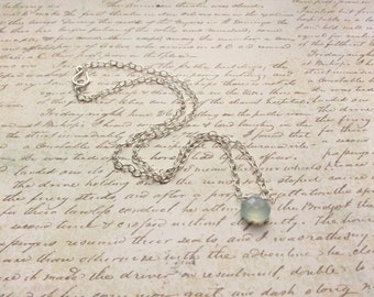 Dainty Sterling Silver Gemstone Necklace Faceted Drop Aqua Chalcedony Simple Minimalist Elegant Style Delicate Feminine Jewelry