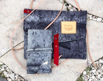 Taku bag, recycled Italian cow leather shoulder bag with phone case. Snow-lava stone.