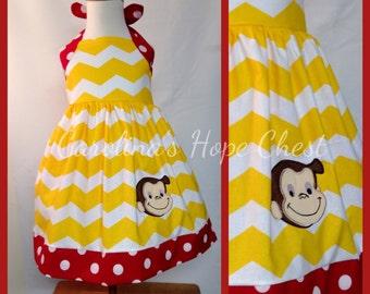 Curious George Appliqued Halter dress