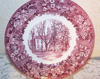 Wedgwood Collectors Plate Vintage Red & White Albion College Robinson Hall English Transferware