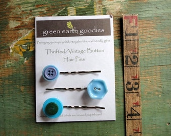 Vintage Button Hair Pins, Set of 3, Thrifted or Vintage Buttons, Blue and Green. Button bobby pins, Clearance hair clips, Destash Hair Pins