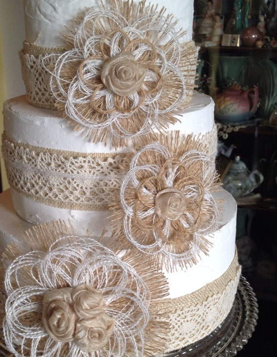 burlap and lace wedding cake toppers burlap and lace wedding cake topper flower set of 4 12254