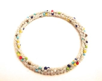 Handmade bangles with natural handpicked beads in white, assorted colors, gifts for her, bead bracelet