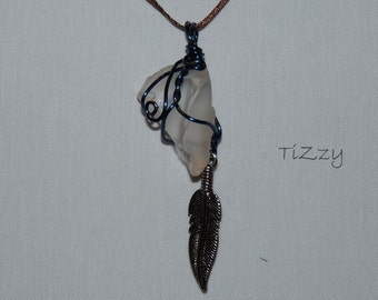 White Beach Glass w/ Feather Charm and Blue Wire Wrapped Necklace Pendant