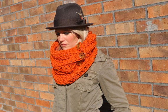 Crochet Infinity Scarf Chunky Orange Cowl