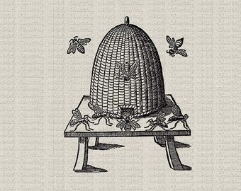 Vintage Bee Skep Bee Hive Image Illustration Download and Print Digital Sheet Image Transfer Burlap INSTANT DOWNLOAD