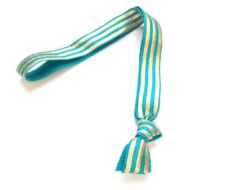 1 Jade Gold Striped Handmade Elastic Headband
