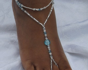 Barefoot Sandal Blue Swarovski Foot Jewelry Beach Wedding Barefoot Sandal Anklet Swarovski Beach Jewelry  Wedding Bridesmaids Shower Gift