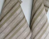 Tea Towel Set Stripes Striped Kitchen Towels Linen Towel Linen Hand Towels Linen Dish Towel Green Moss Gray Towels