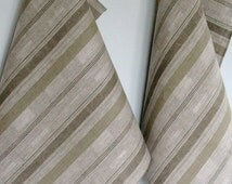 Tea Towel Set Stripes Striped Kitchen Towels Linen Towel Linen Hand Towels Linen Dish Towel Green Moss Gray Towels set of 2