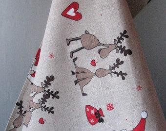 Linen Cotton Dish Towels Tea Towels Rudolph Reindeer Christmas Holiday Tea Towels set of 2