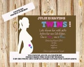 Twin Boy & Girl Baby Shower Invitation printable digital File