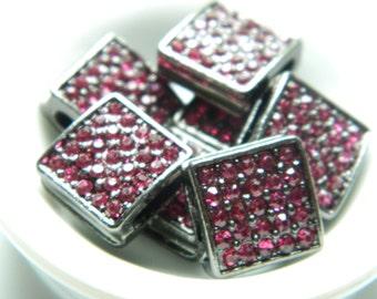 12mm Rhinestone Square Pave Gunmetal with Pink Crystals. Celebrity Bracelets Paparazzi (3pcs)