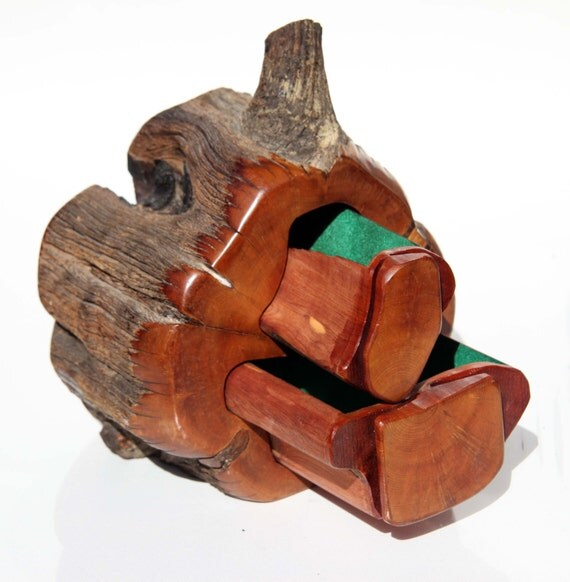 Wood log jewelry box carved aromatic cedar lined natural wood for How to carve a wooden ring