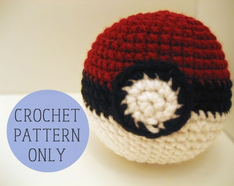 PATTERN ONLY - Pokemon Poke Ball crochet plushie pattern